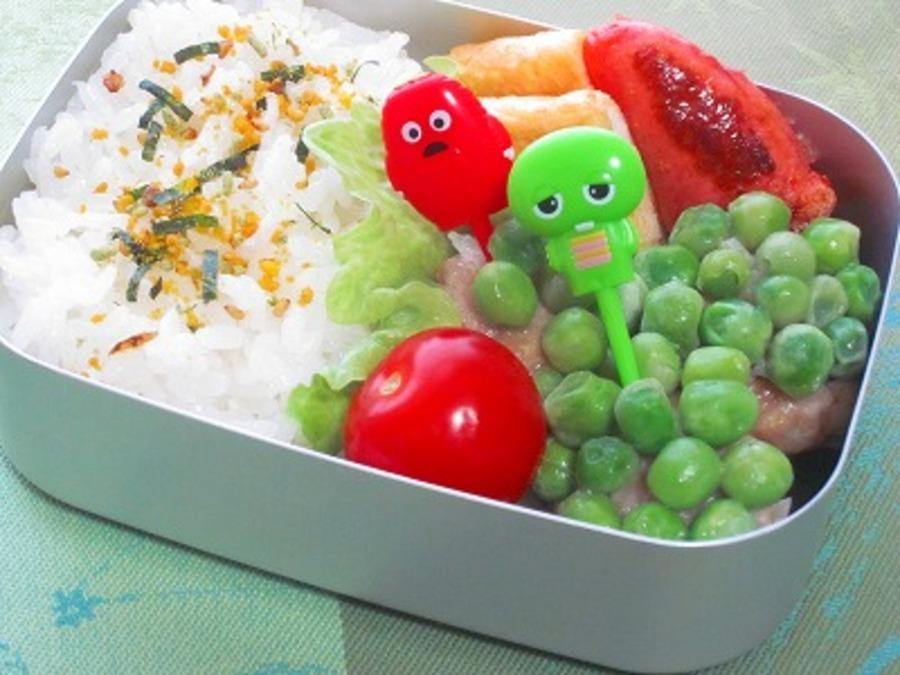 緑色のグリンピースしゅうまい弁当♪