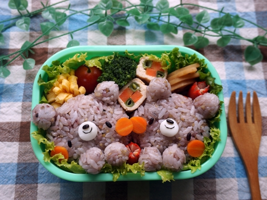 Rice with mixed grains bear bento