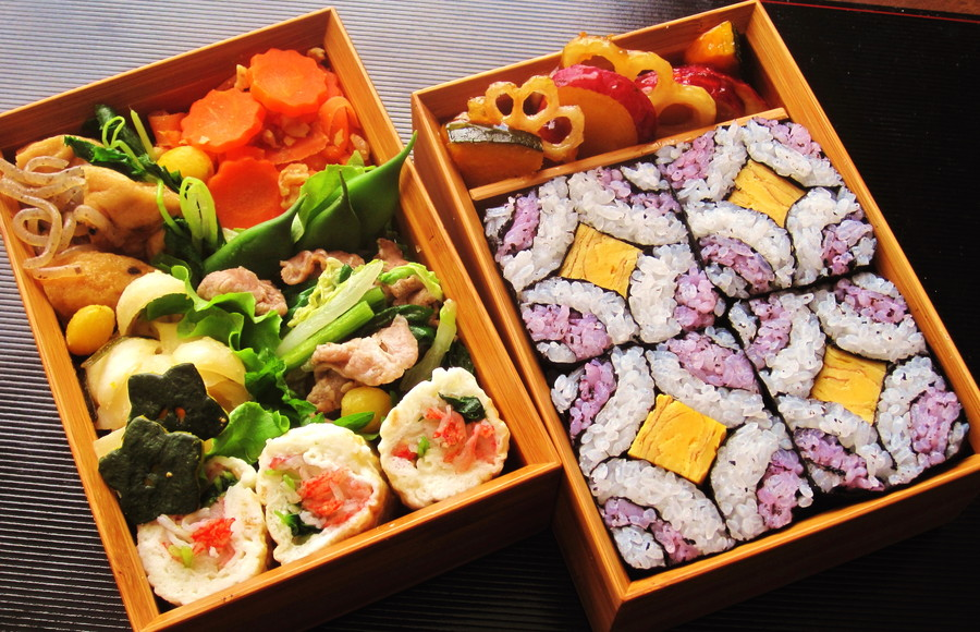 Healthy colorful bento with plenty of veggies