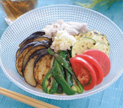 焼き夏野菜とおろししょうがの冷しゃぶそうめん