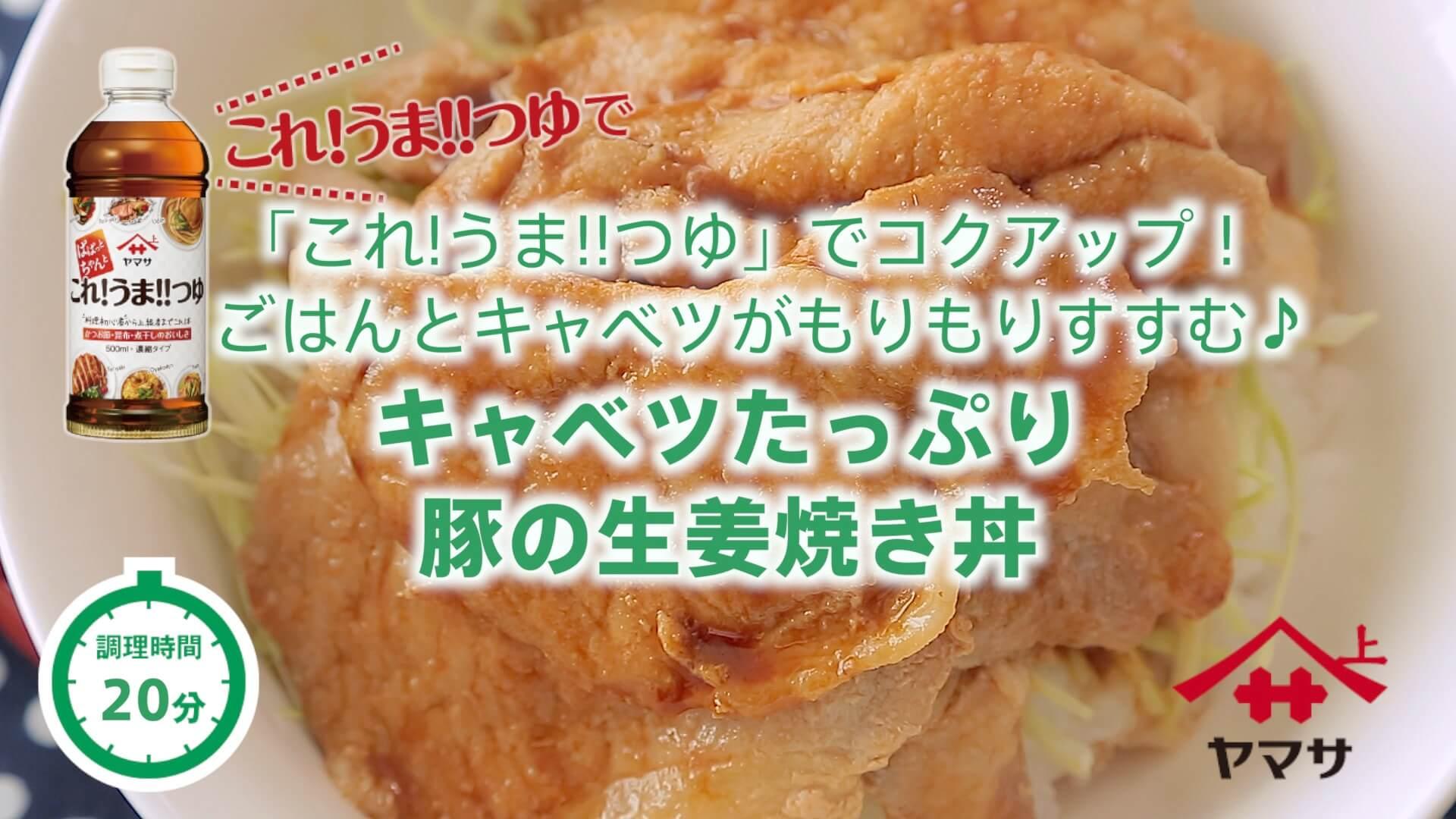 キャベツたっぷり豚の生姜焼き丼